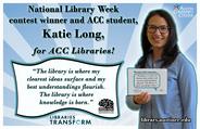 National Library Week Contest Winner Katy Long(2016)